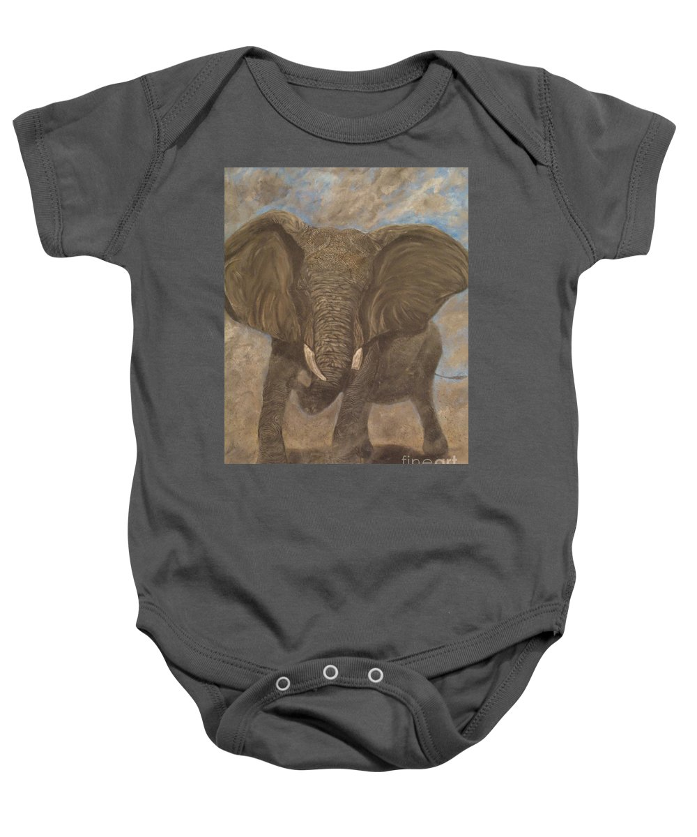 Elephant Baby Onesie featuring the painting Elephant Charging by Nick Gustafson