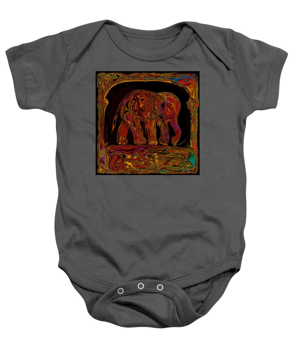 Animal Baby Onesie featuring the digital art Elephant by Rabi Khan