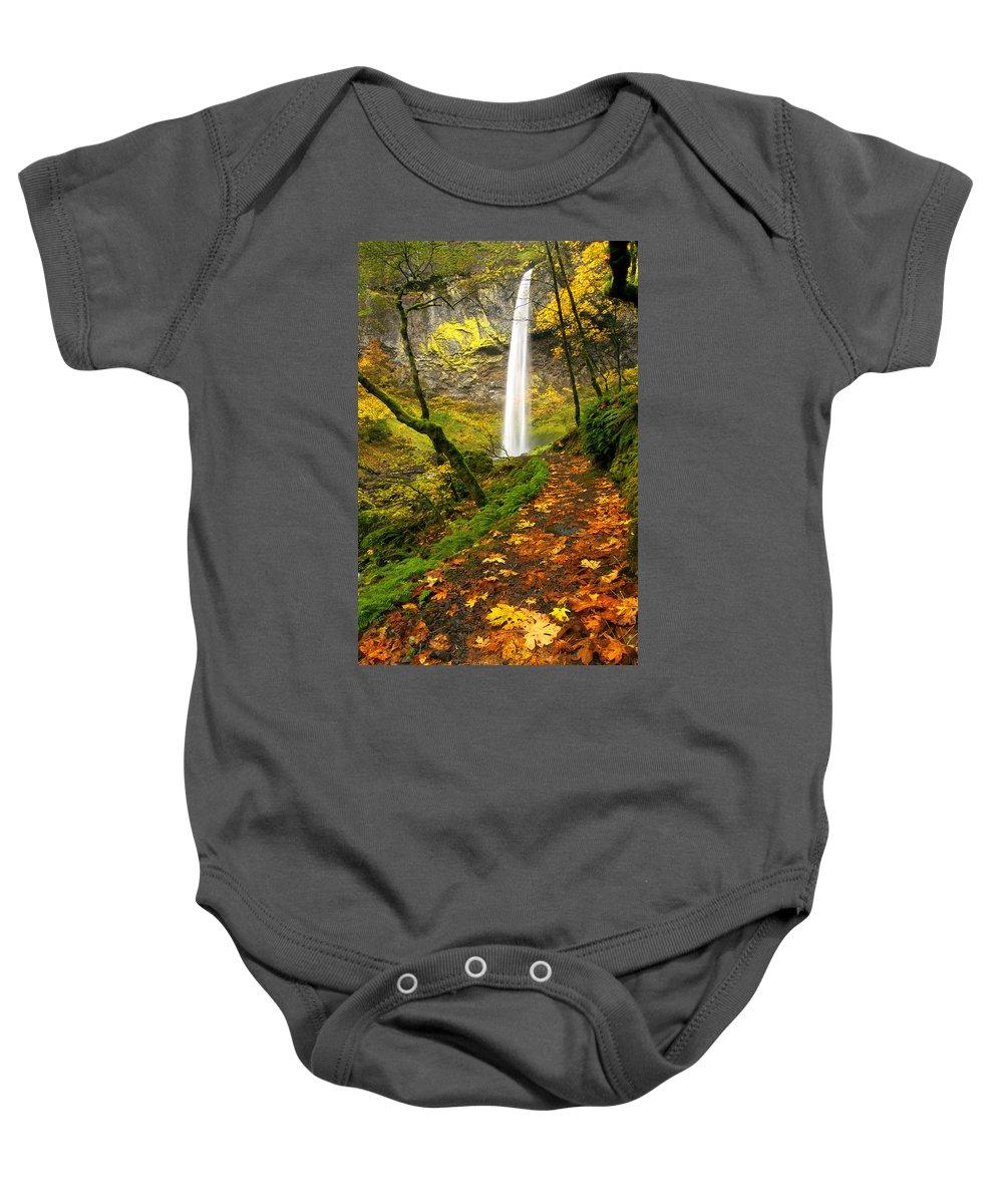 Elowah Falls Baby Onesie featuring the photograph Elowah Autumn Trail by Mike Dawson
