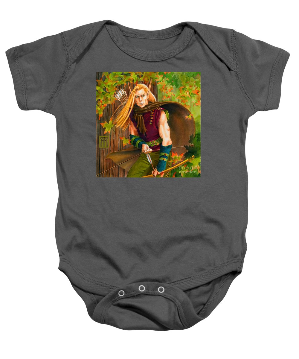 Elf Baby Onesie featuring the painting Elven Hunter by Melissa A Benson