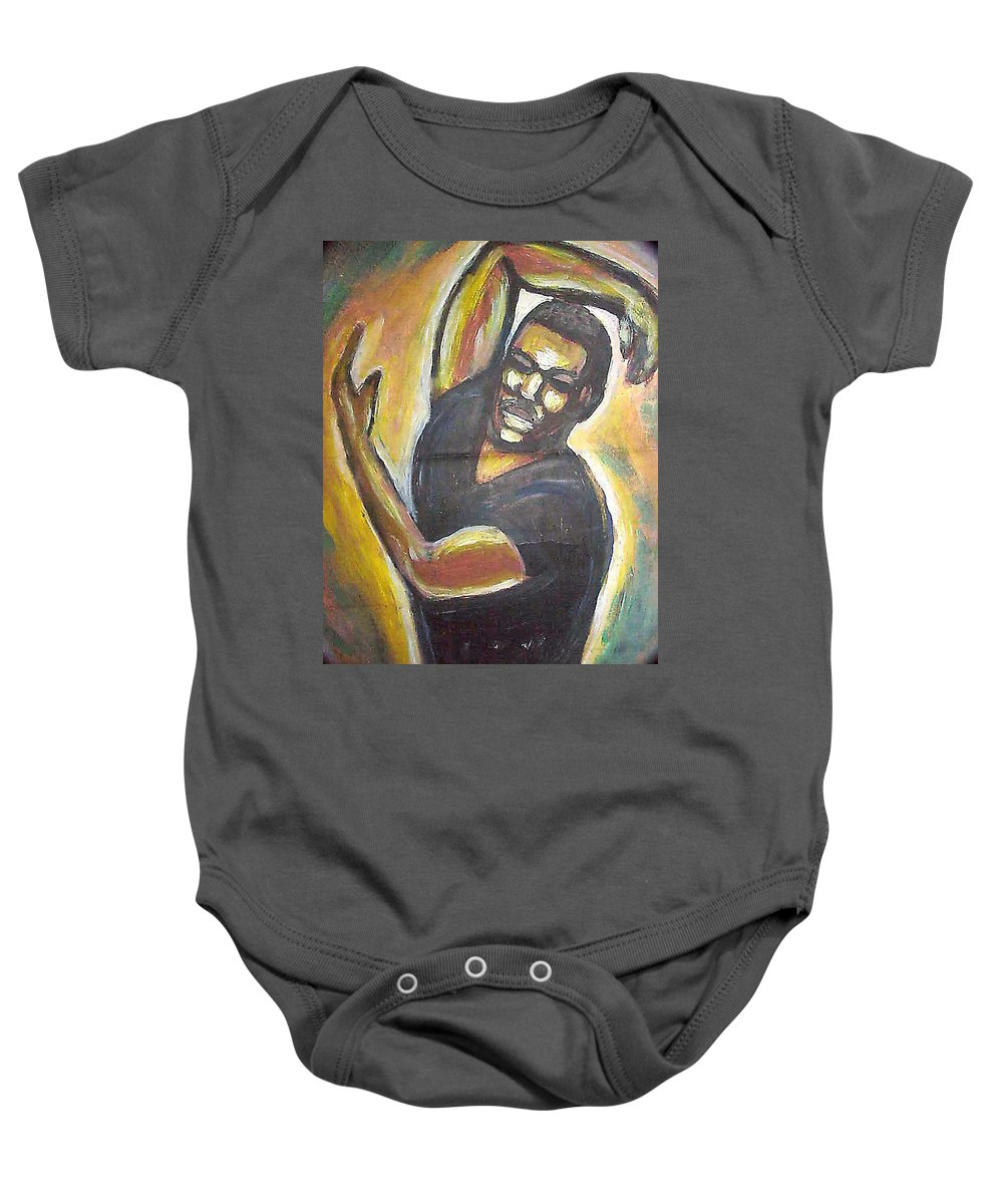 Figure Baby Onesie featuring the painting Embrace The Earth by Jan Gilmore