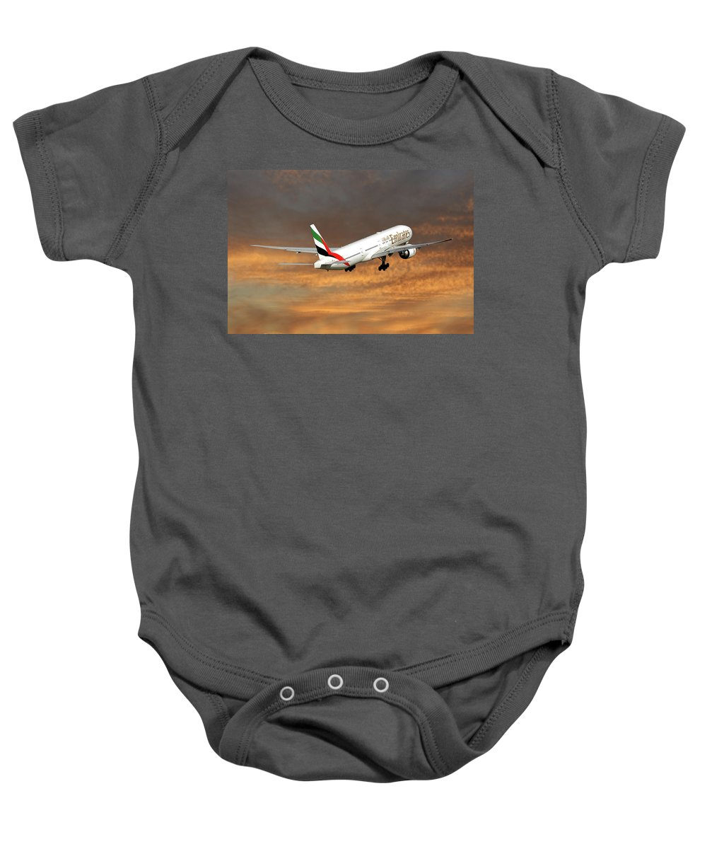 Emirates Baby Onesie featuring the photograph Emirates Boeing 777-36n 3 by Smart Aviation