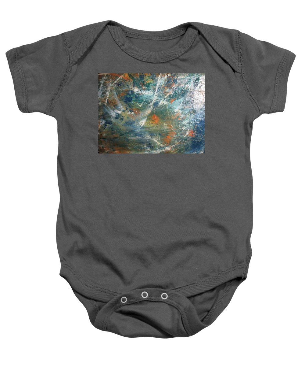 Non Duality Baby Onesie featuring the painting Emotional Deluge by Paula Andrea Pyle