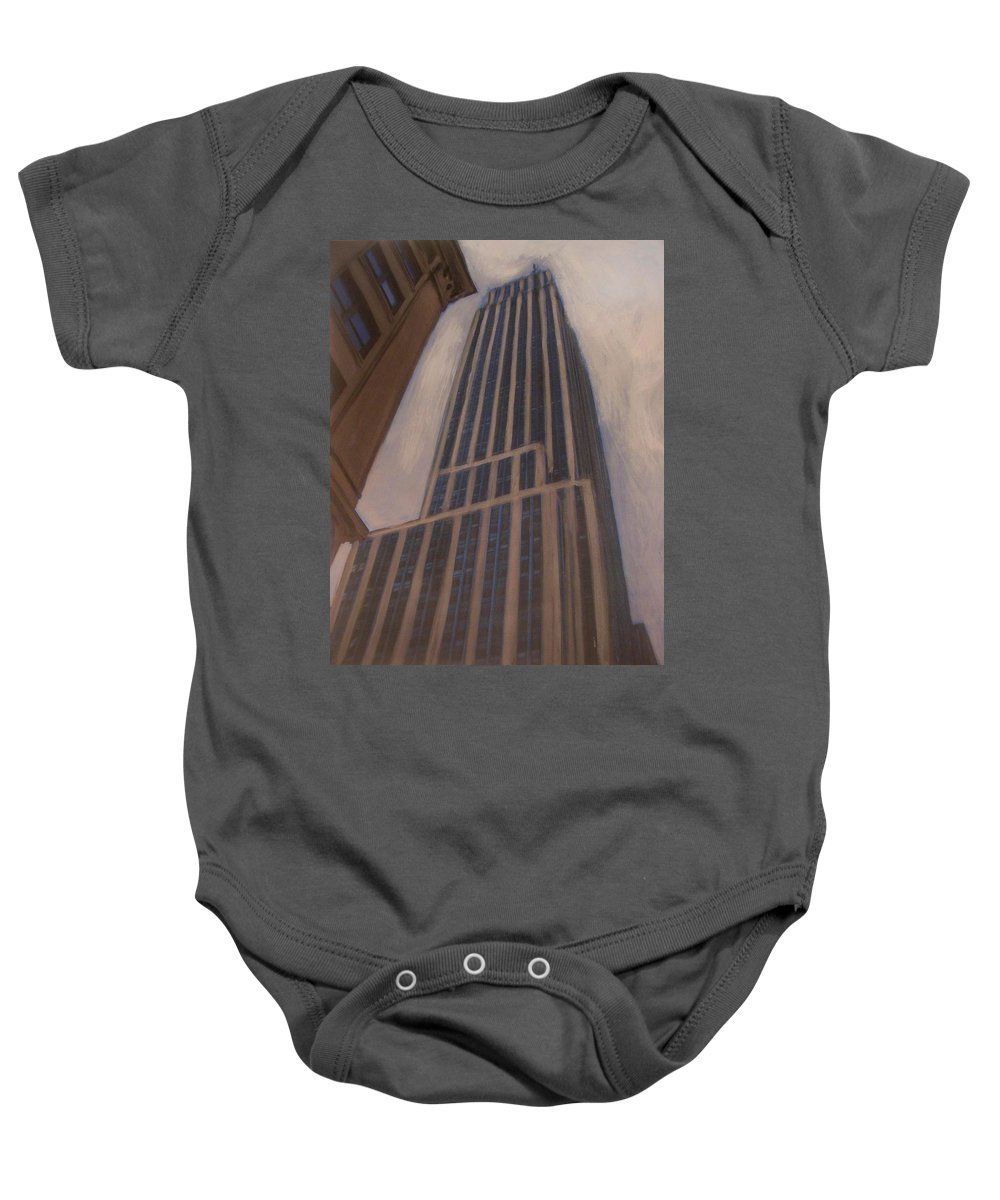 Empire State Building Baby Onesie featuring the mixed media Empire State Building 1 by Anita Burgermeister