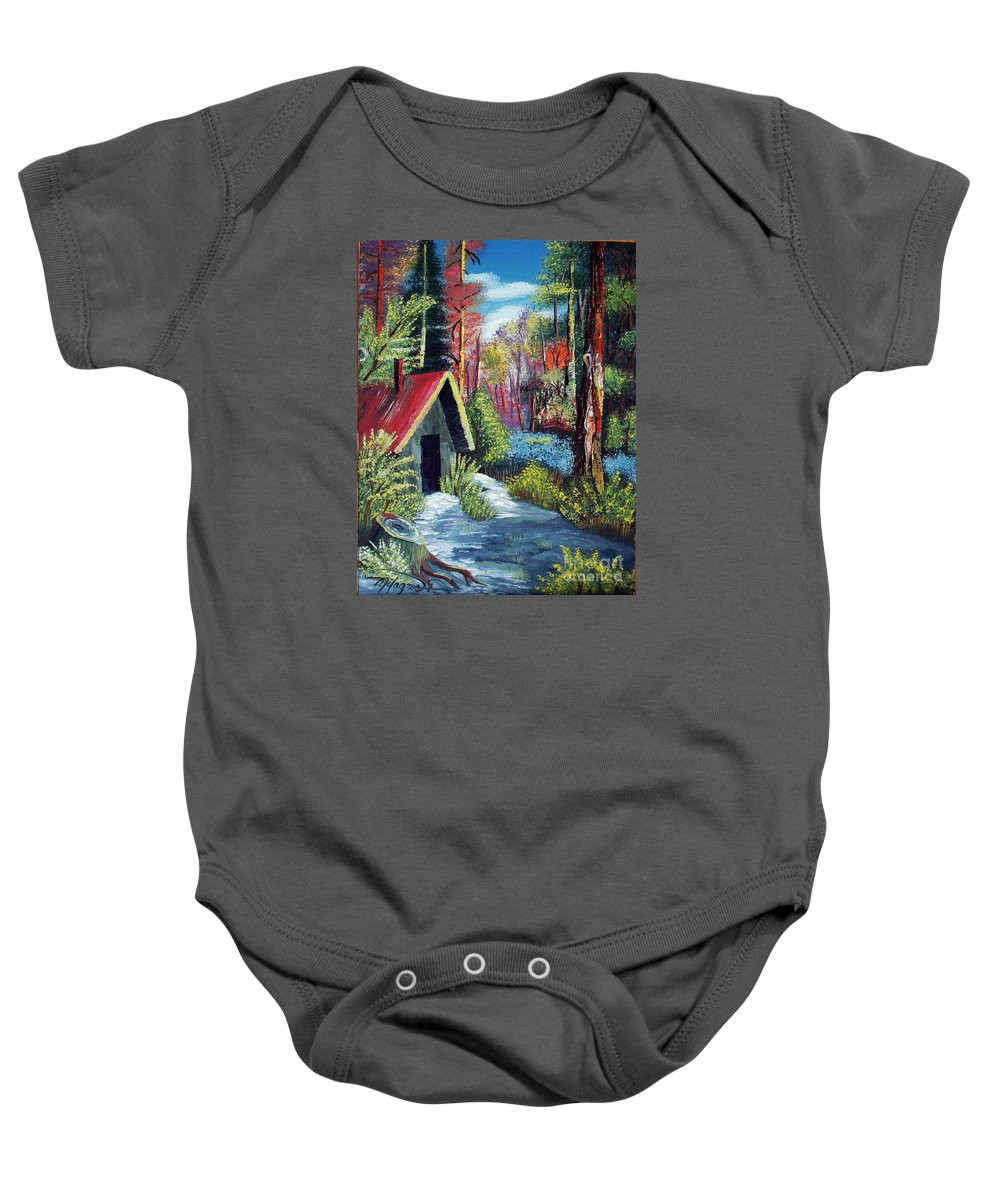 Forest Baby Onesie featuring the painting Enchanted Forest by Milagros Palmieri