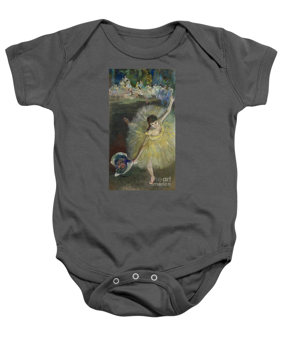 End Of An Arabesque Baby Onesie featuring the pastel End Of An Arabesque by Edgar Degas