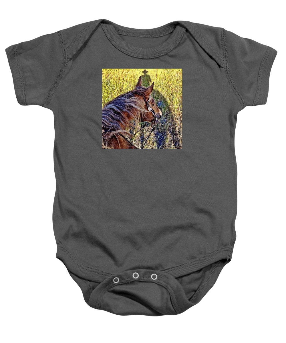 Horses Baby Onesie featuring the photograph End Of Spring by JoJo Brown