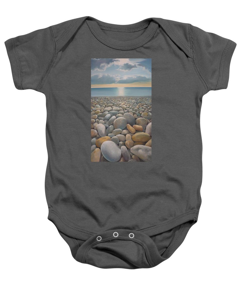 Baby Onesie featuring the painting End Of The Day by Caroline Philp