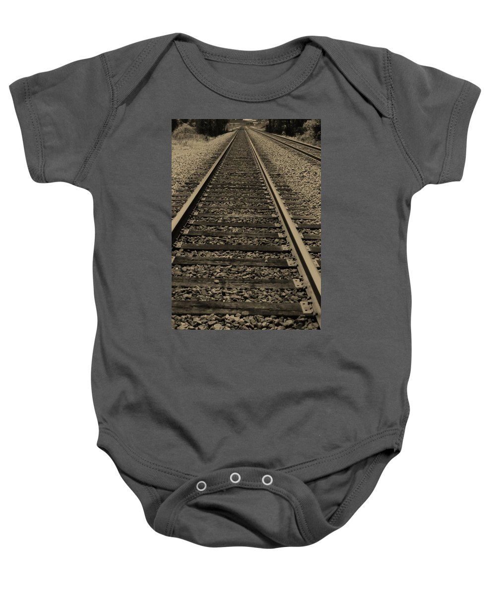 Railroad Baby Onesie featuring the photograph Endless Journey by Ginger Adams