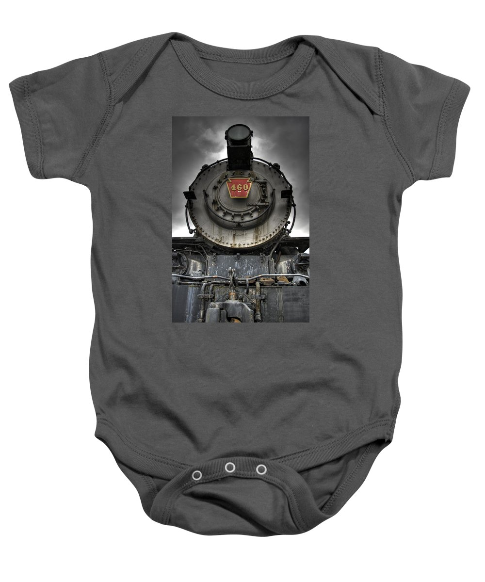 Hdr Baby Onesie featuring the photograph Engine 460 Front And Center by Scott Wyatt