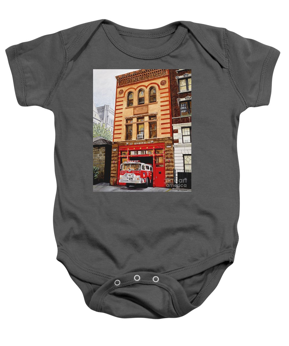 Firehouse Baby Onesie featuring the painting Engine Company 47 by Paul Walsh