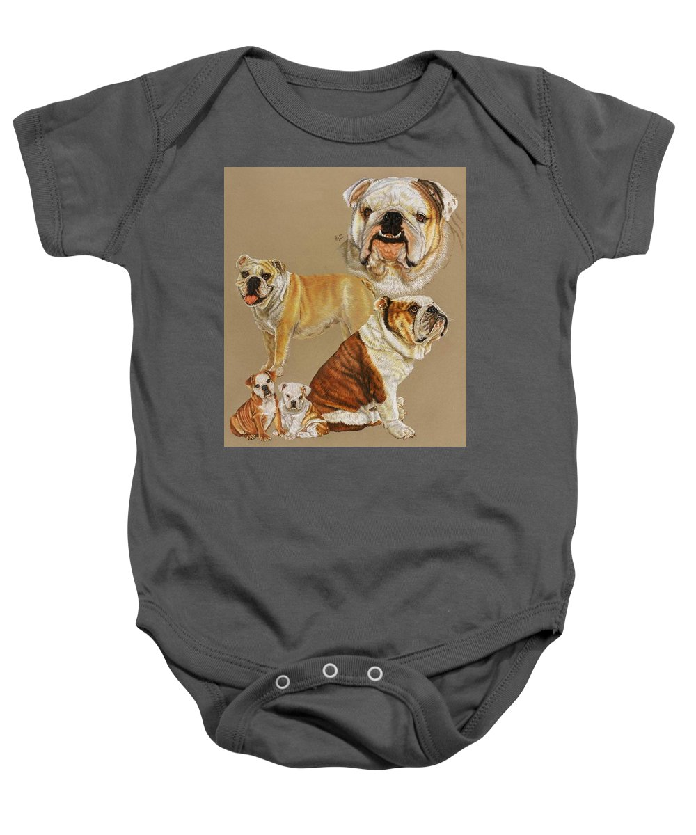 Purebred Baby Onesie featuring the drawing English Bulldog by Barbara Keith