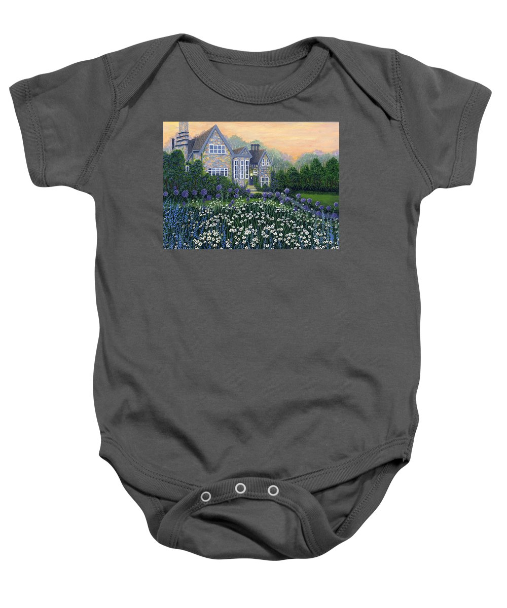 English Cottage Baby Onesie featuring the painting English Cottage by Bonnie Cook