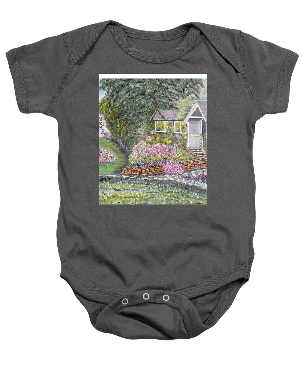 Cottage Baby Onesie featuring the painting English Cottage by Hal Newhouser
