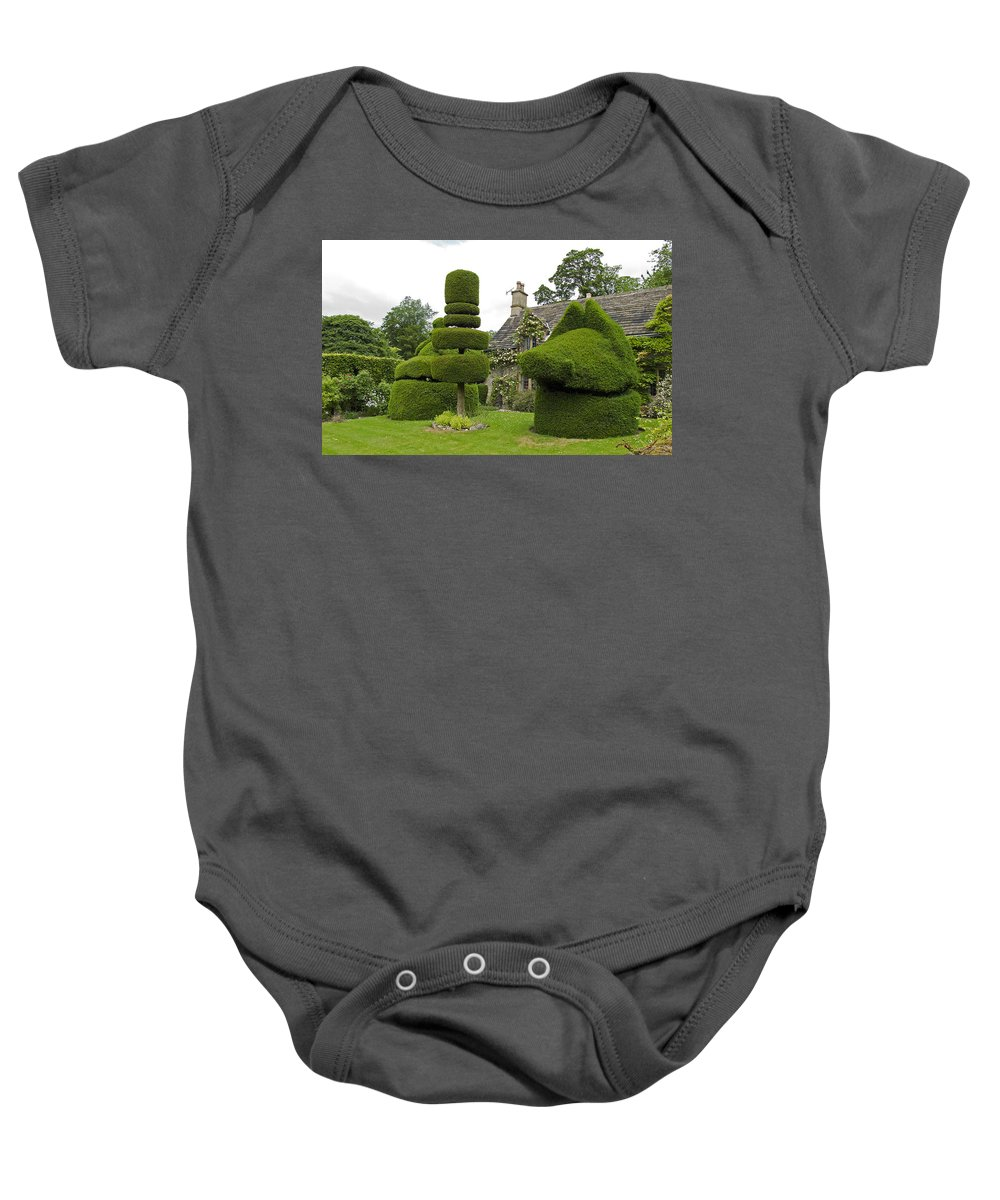 Yew Baby Onesie featuring the photograph English Yew Topiary by Bob Kemp