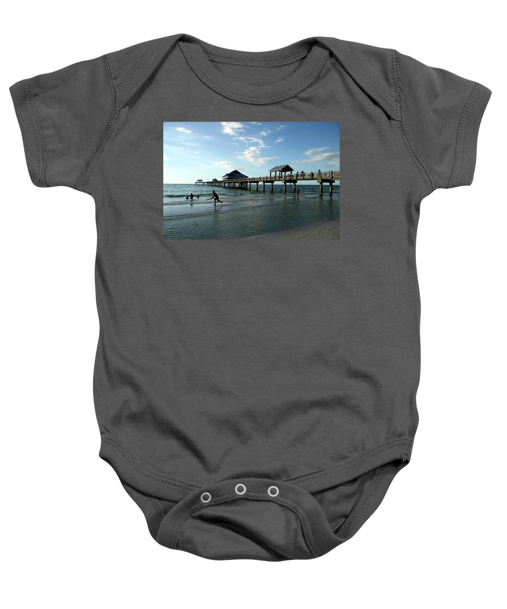 Beach Baby Onesie featuring the photograph Enjoy The Beach - Clearwater Pier by Christiane Schulze Art And Photography