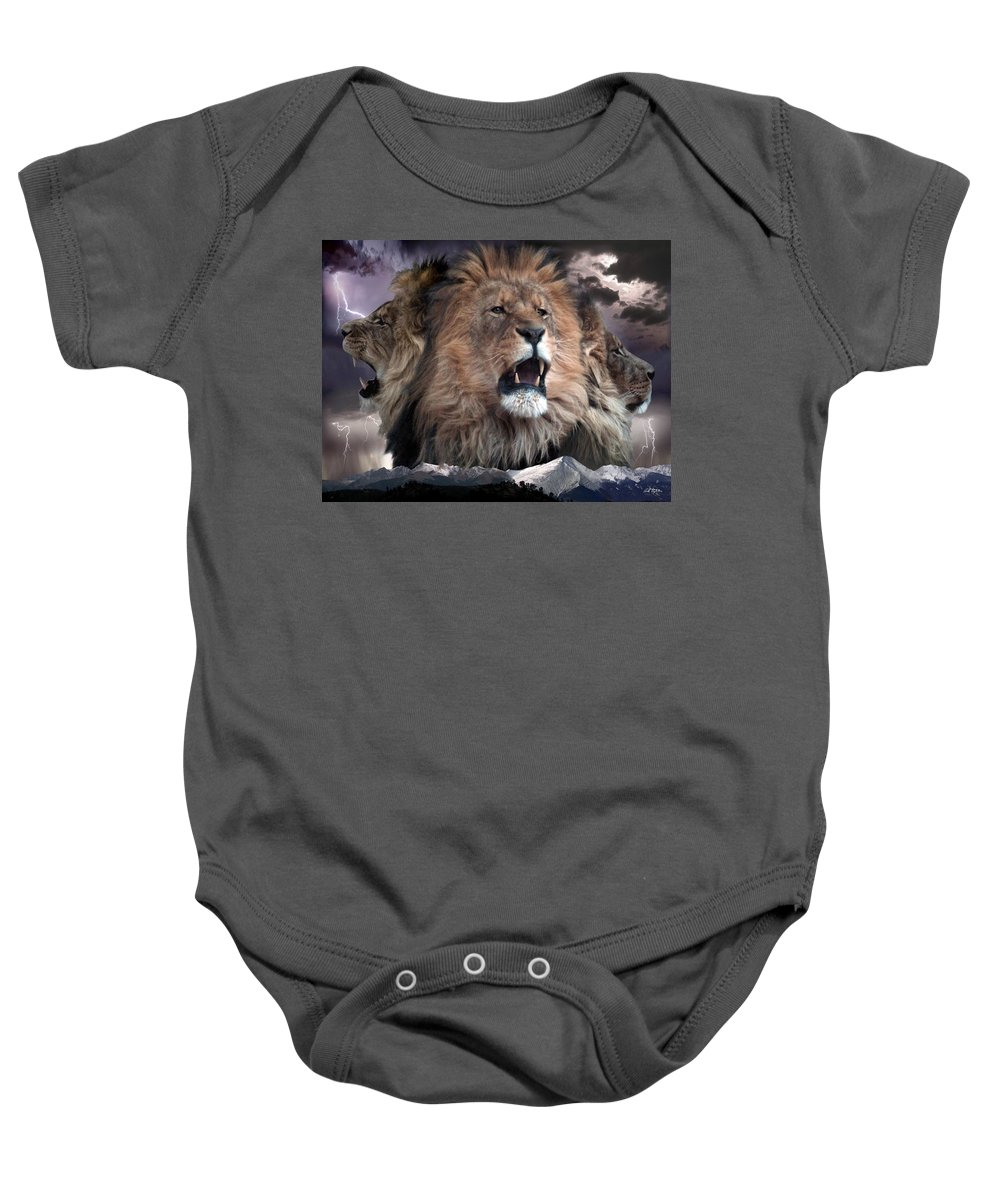 Lions Baby Onesie featuring the digital art Enough by Bill Stephens