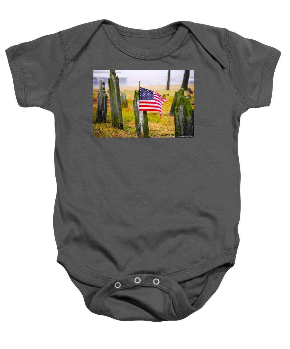Cemetery Baby Onesie featuring the photograph Enriched American Flag - Remember by Jennifer Wick
