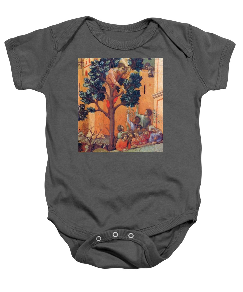 Entry Baby Onesie featuring the painting Entry Into Jerusalem Fragment 1311 by Duccio