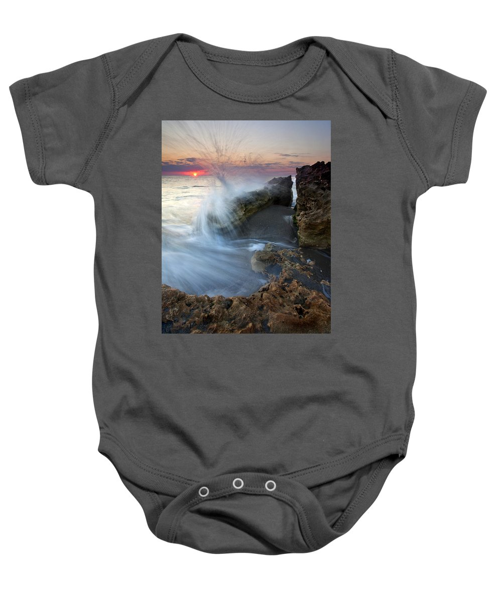 Blowing Rocks Baby Onesie featuring the photograph Eruption At Dawn by Mike Dawson