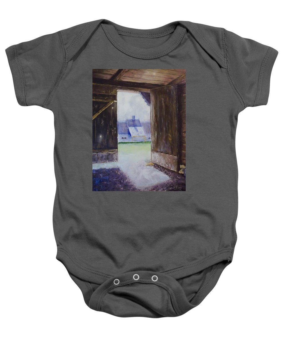 Shed Baby Onesie featuring the painting Escape The Sun by Stephen King