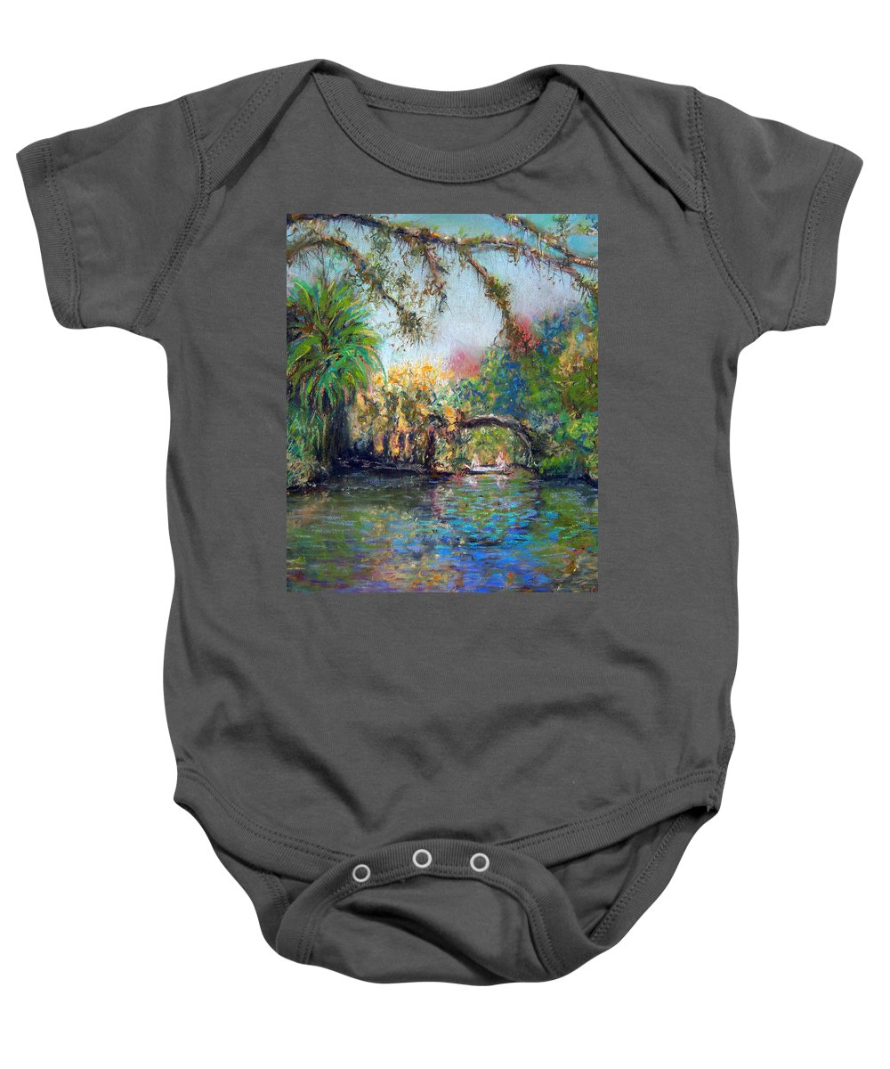 Koreshan State Park Baby Onesie featuring the painting Estero River At Koreshan by Laurie Paci