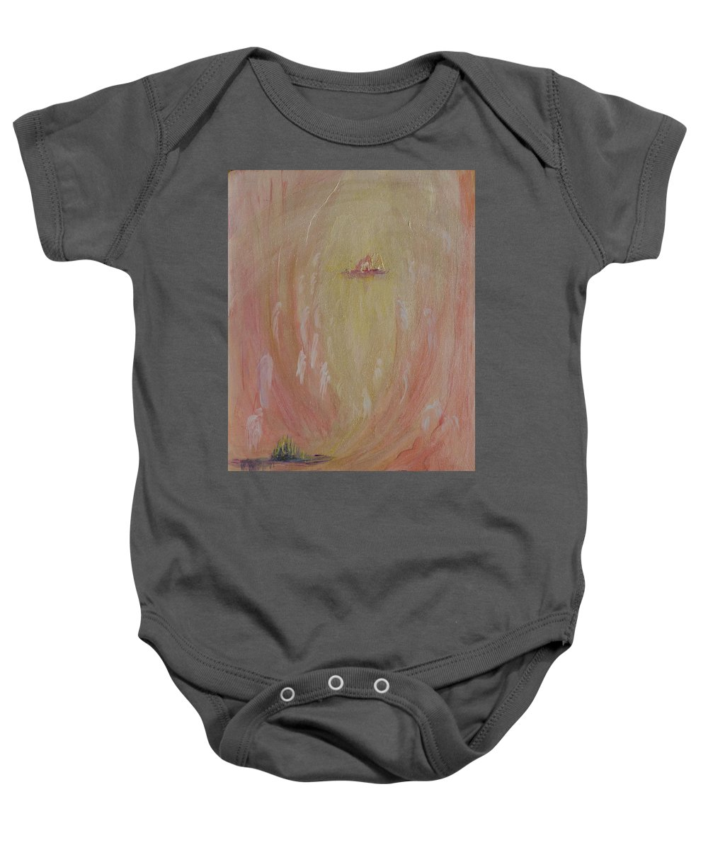 Abstract Baby Onesie featuring the painting Eternal City by Kathleen Sandoval
