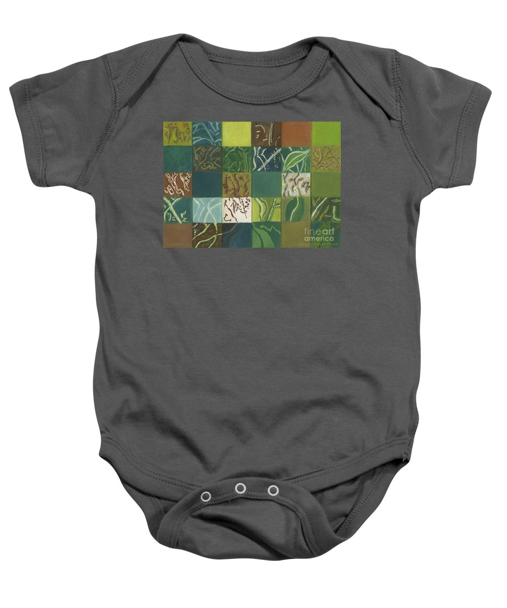 Eucalyptus Baby Onesie featuring the painting Euca Abstract I by Kerryn Madsen-Pietsch
