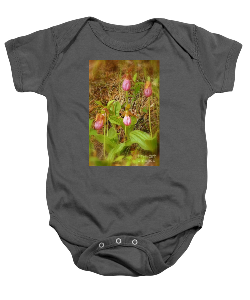 Lady Slippers Baby Onesie featuring the photograph Eureka by Priscilla Richardson