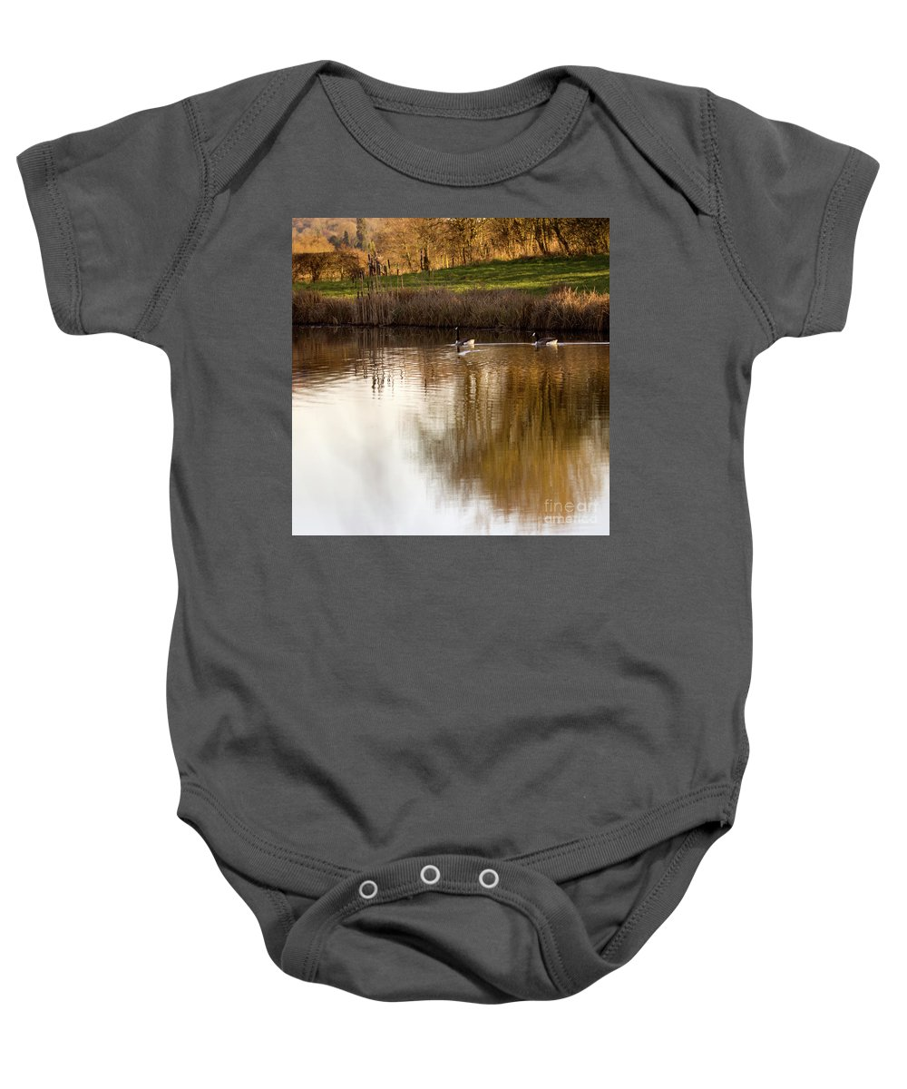 Pond Baby Onesie featuring the photograph Evening By The Pond by Angel Ciesniarska