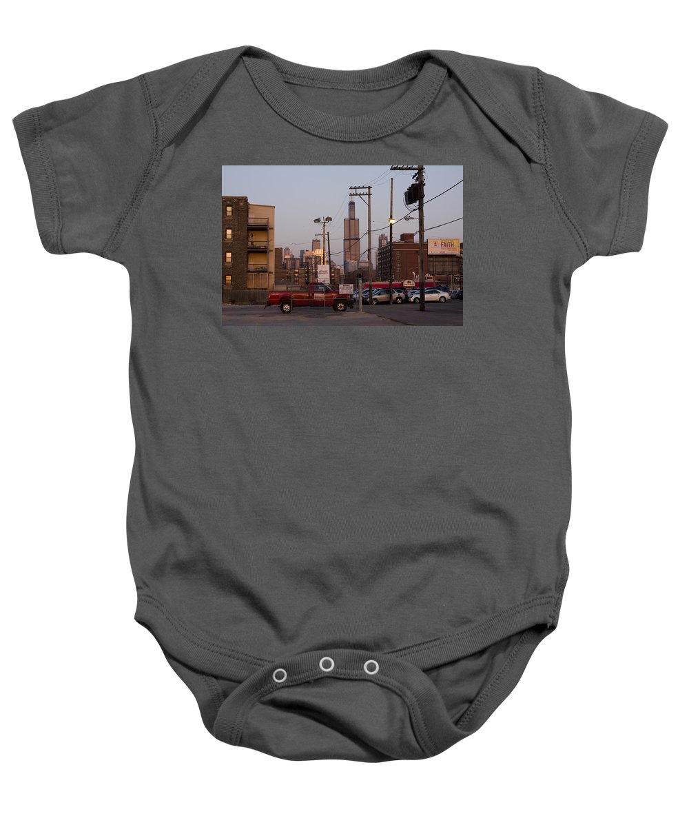 Chicago Car Windy City Tower Urban Tall High Building Skyscraper Baby Onesie featuring the photograph Evening In Chicago by Andrei Shliakhau
