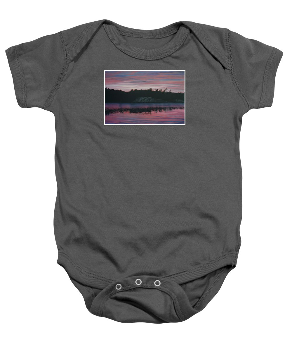 Landscape Baby Onesie featuring the painting Evening In La Cloche by Jan Lyons