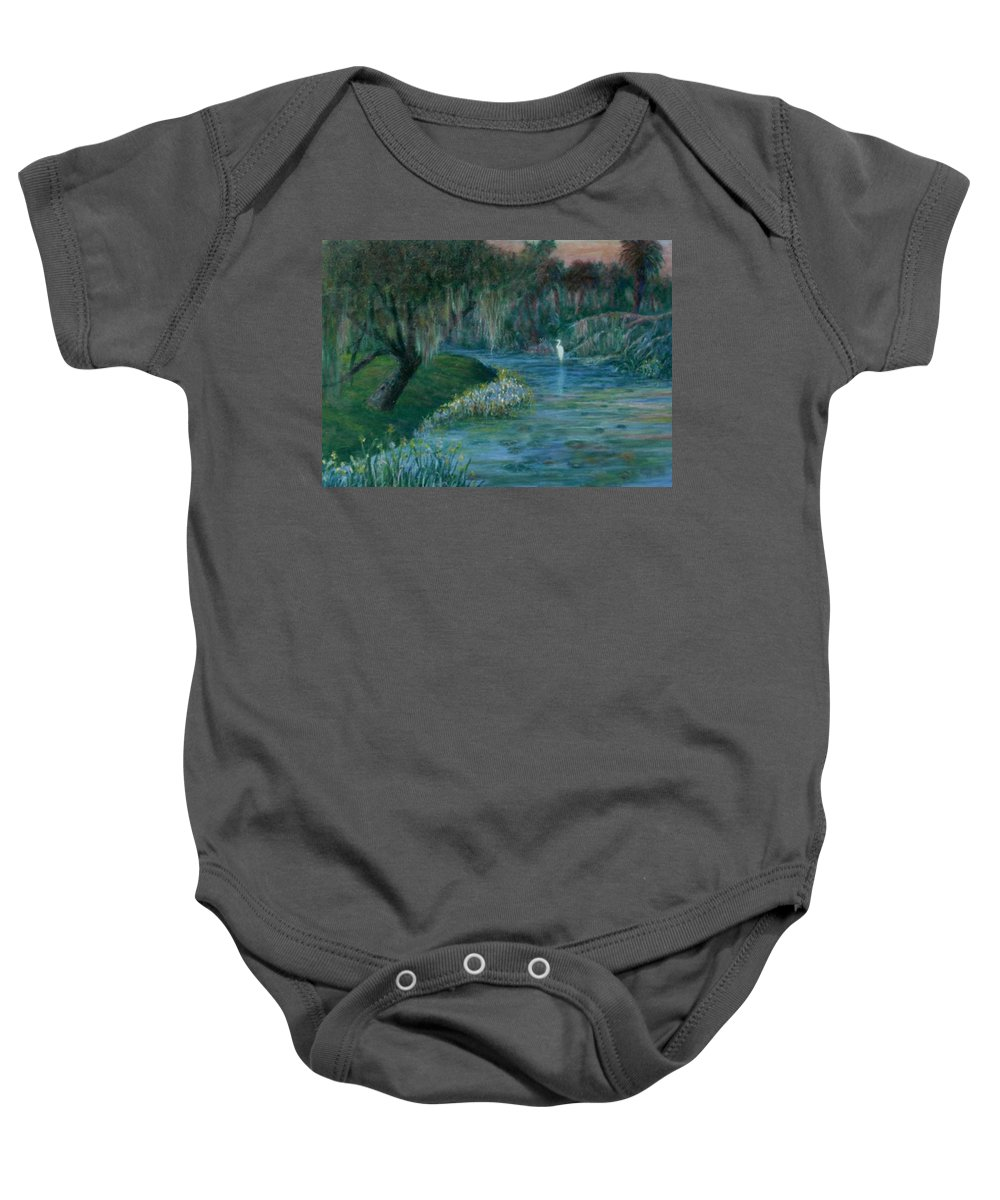 Low Country; Egrets; Lily Pads Baby Onesie featuring the painting Evening Shadows by Ben Kiger