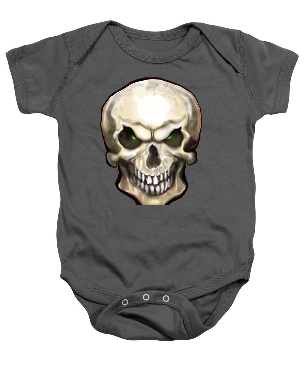 Skull Baby Onesie featuring the painting Evil Skull by Kevin Middleton