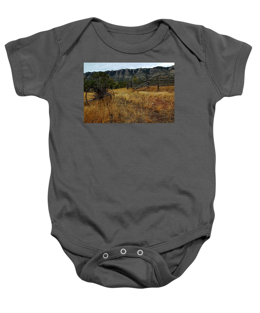 Bighorn Canyon National Recreation Area Baby Onesie featuring the photograph Ewing-snell Ranch 2 by Larry Ricker