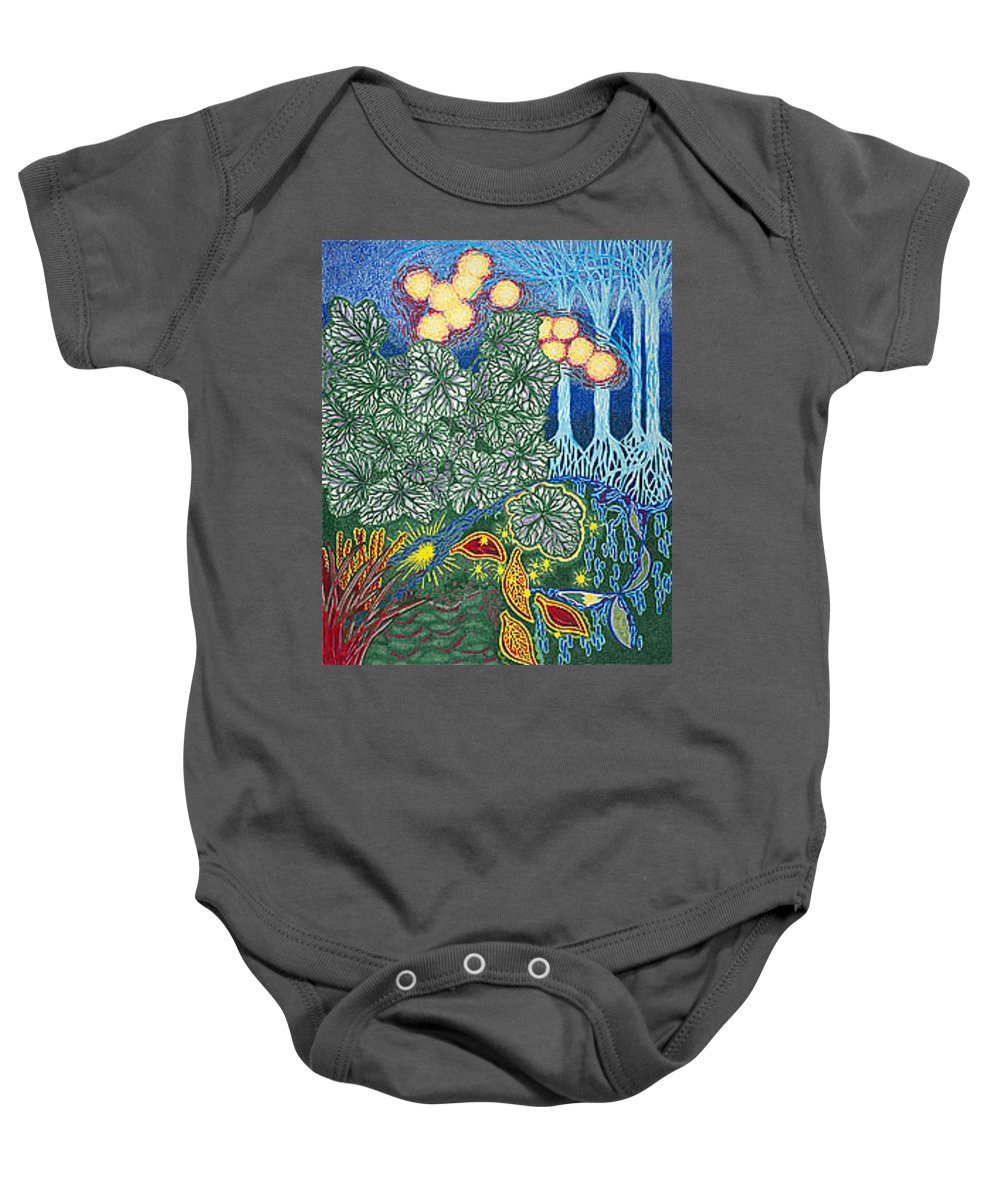 Art Baby Onesie featuring the drawing Exciting Harmony Art Prints And Gifts Autumn Leaves Botanical Garden Park Plants by Baslee Troutman