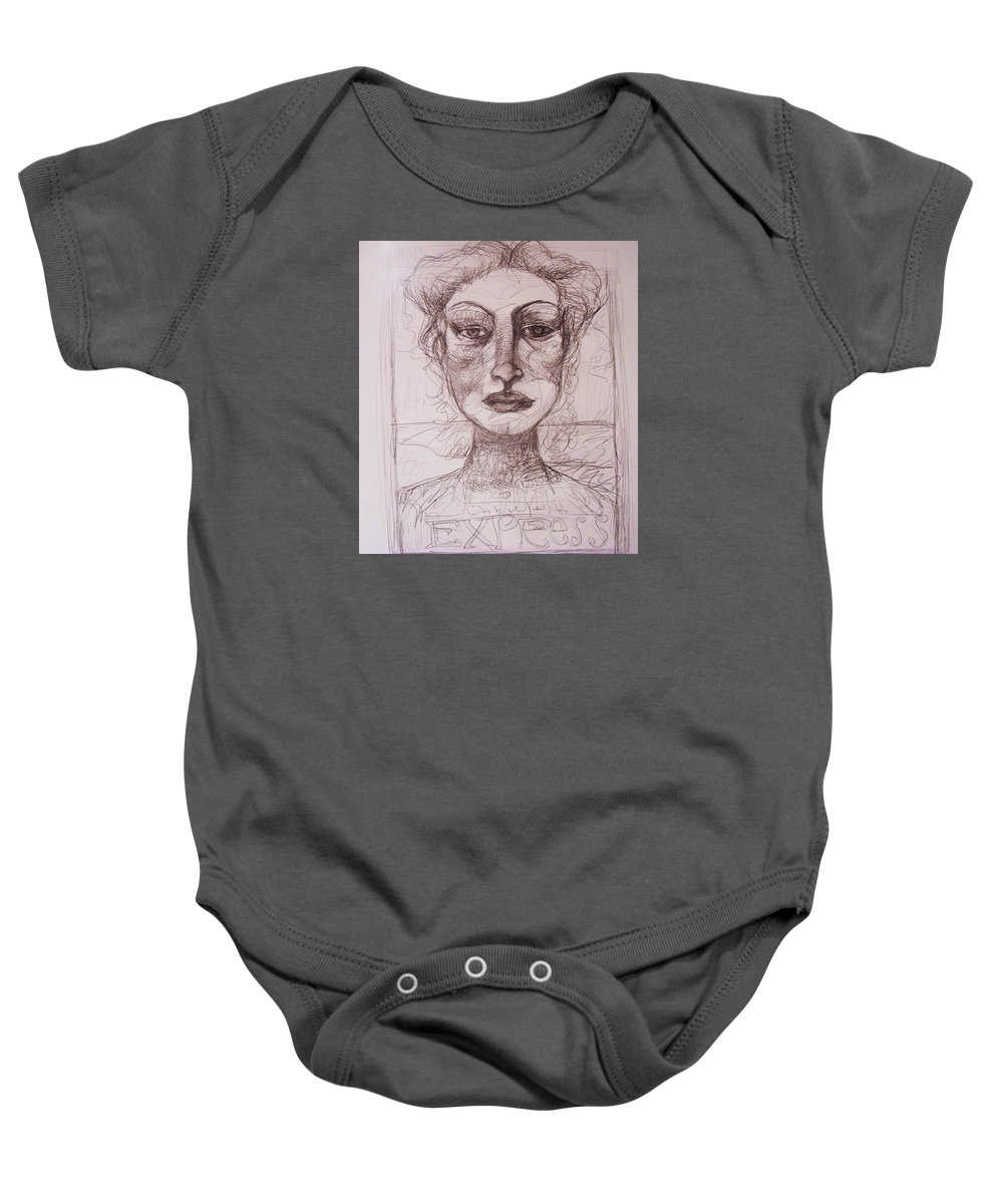 Drawing Baby Onesie featuring the drawing EXP by Mykul Anjelo