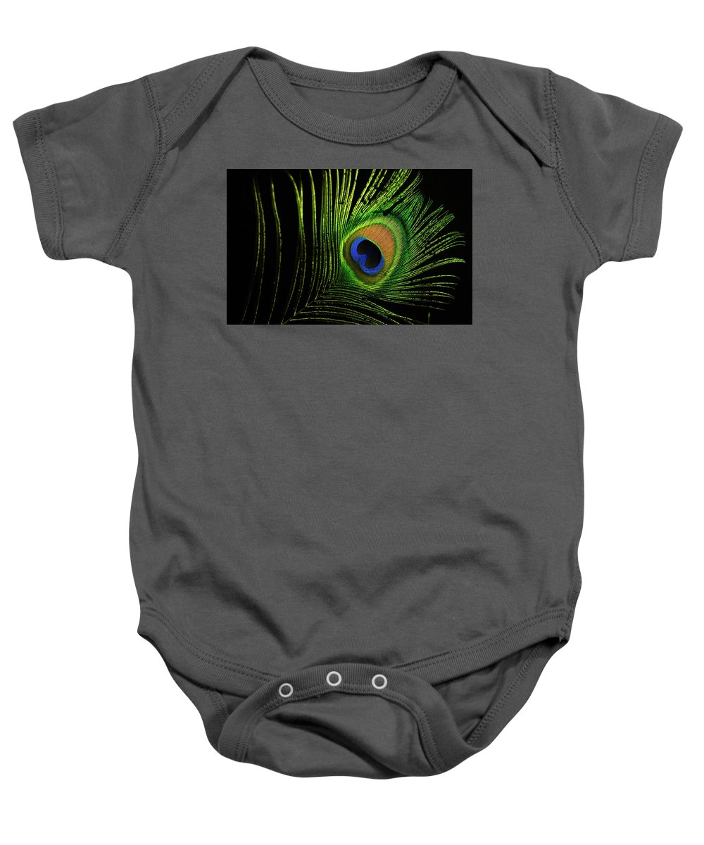 Peafowl Baby Onesie featuring the photograph Eye Of A Peafowl by Douglas Barnett