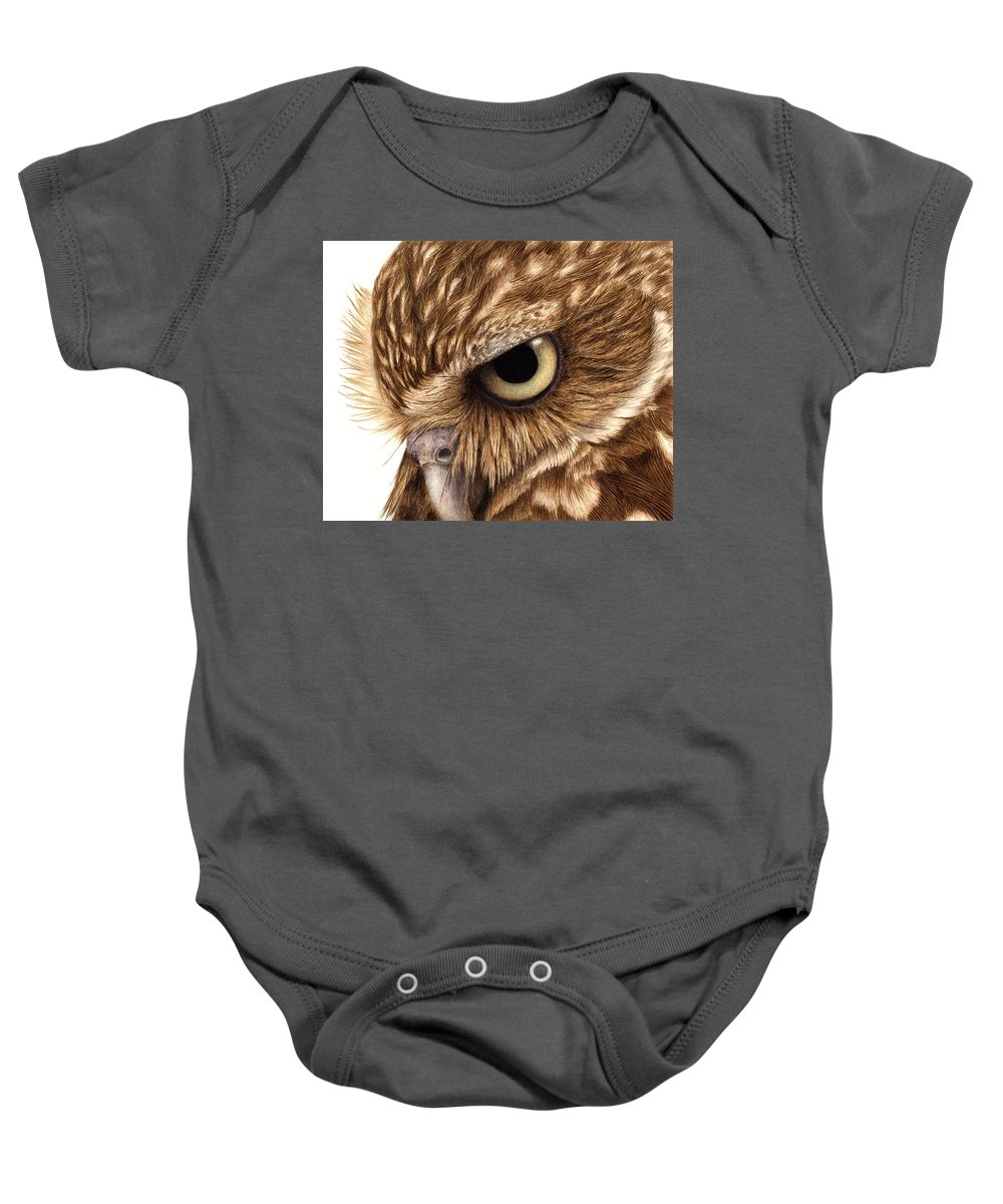 Owl. Burrowing Owl Baby Onesie featuring the painting Eyeful by Pat Erickson