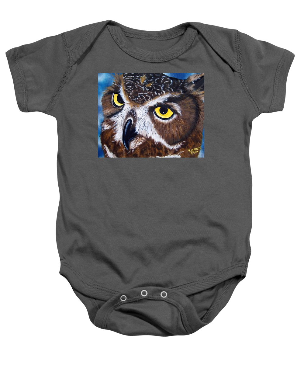 Owl Baby Onesie featuring the painting Eyes Of Wisdom by Debbie LaFrance