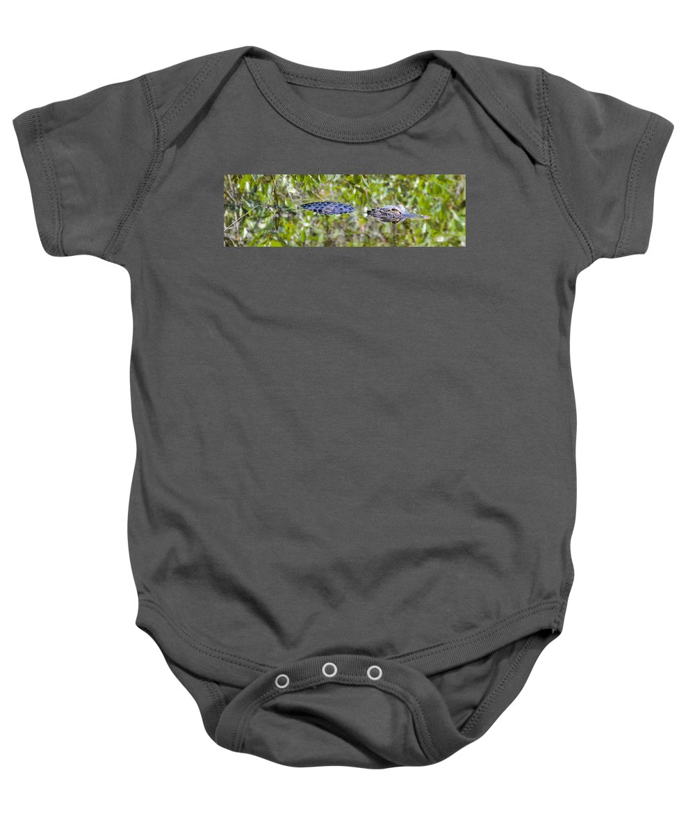 Alligator Baby Onesie featuring the photograph Eyes On You by Benjamin Andersen