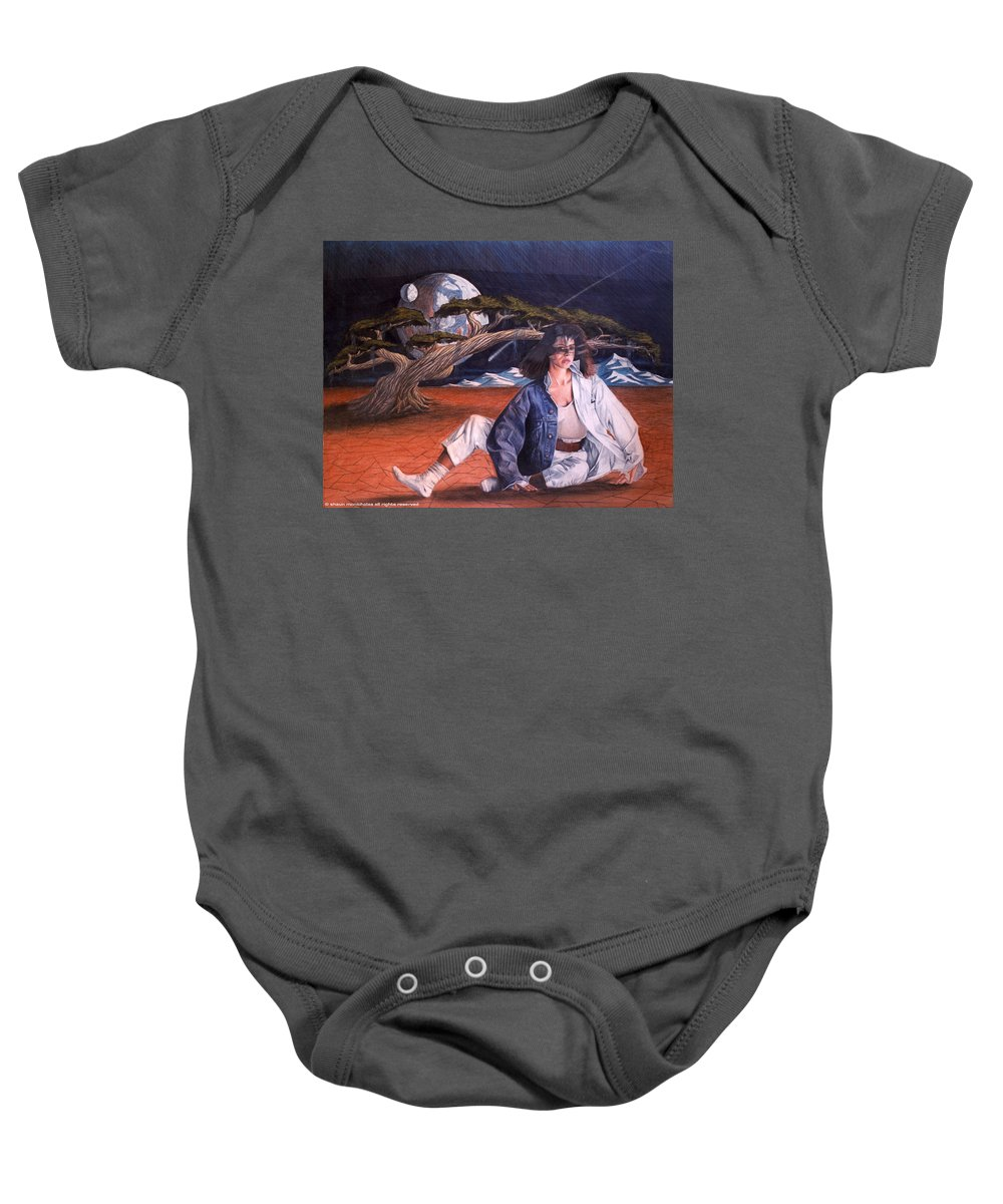 Woman Baby Onesie featuring the drawing Fabrics by Shaun McNicholas