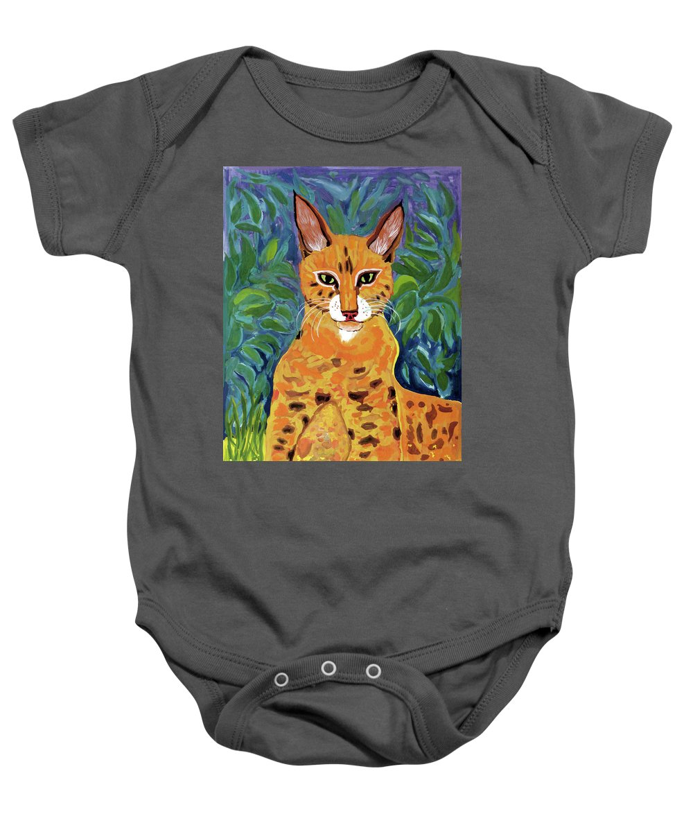 Fabulous Baby Onesie featuring the painting fabulous cat portrait in the style of Van Gogh's by Vladimir Nenashev