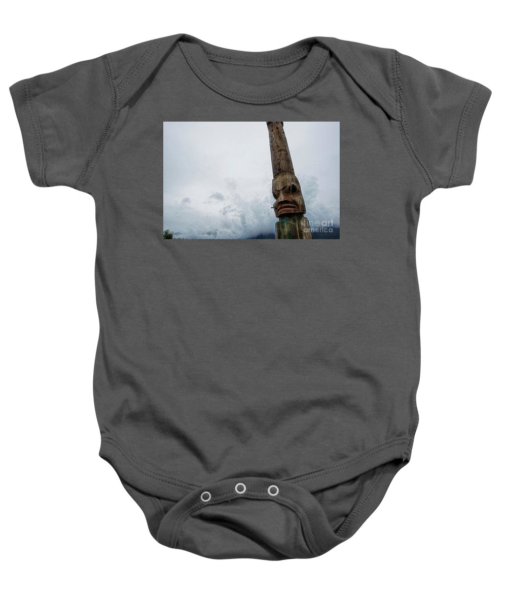 Totem Pole Baby Onesie featuring the photograph Face In The Clouds by David Arment