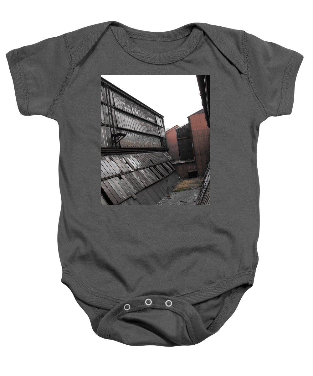 Factory Windows Baby Onesie featuring the photograph Factory Windows 3 by Ginger Repke