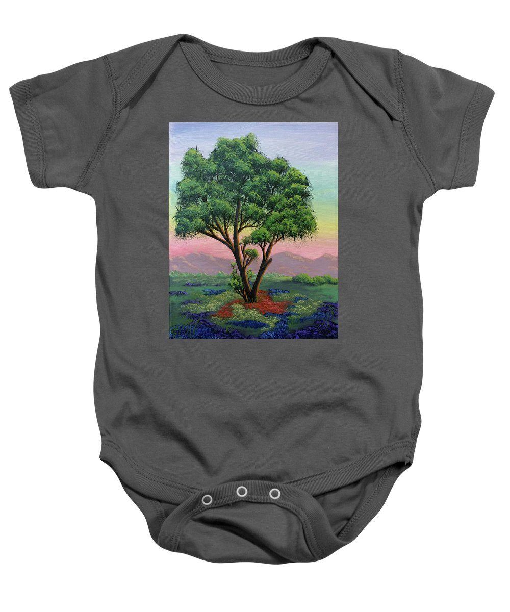 Tree Baby Onesie featuring the painting Fading Day by Dawn Blair
