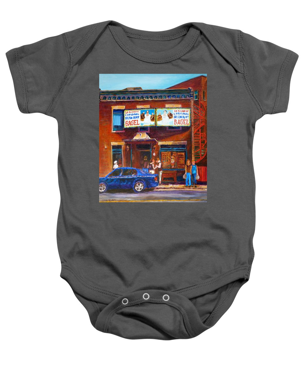 Fairmount Bagel Baby Onesie featuring the painting Fairmount Bagel With Blue Car by Carole Spandau
