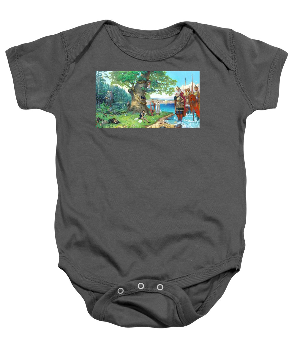 Fairy Tale Baby Onesie featuring the painting Fairy-tale Pushkin Lukomorye by Stanislav Martinovich