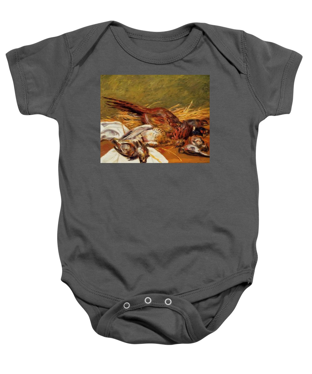 Faisans Baby Onesie featuring the painting Faisans Canapetiere Et Grives 1902 by Renoir PierreAuguste