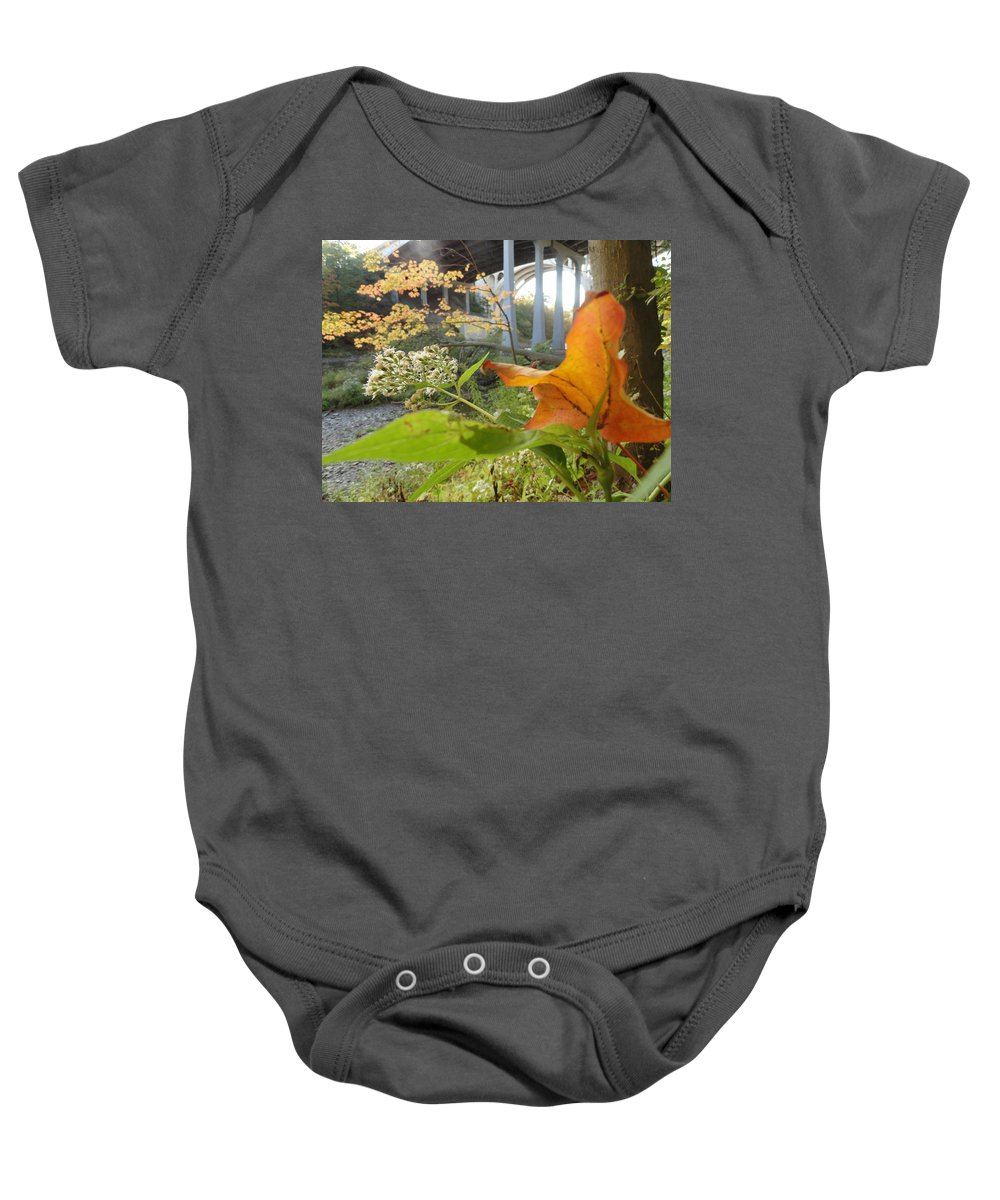 Rocky River Baby Onesie featuring the photograph Fall At The River by Trish Hale